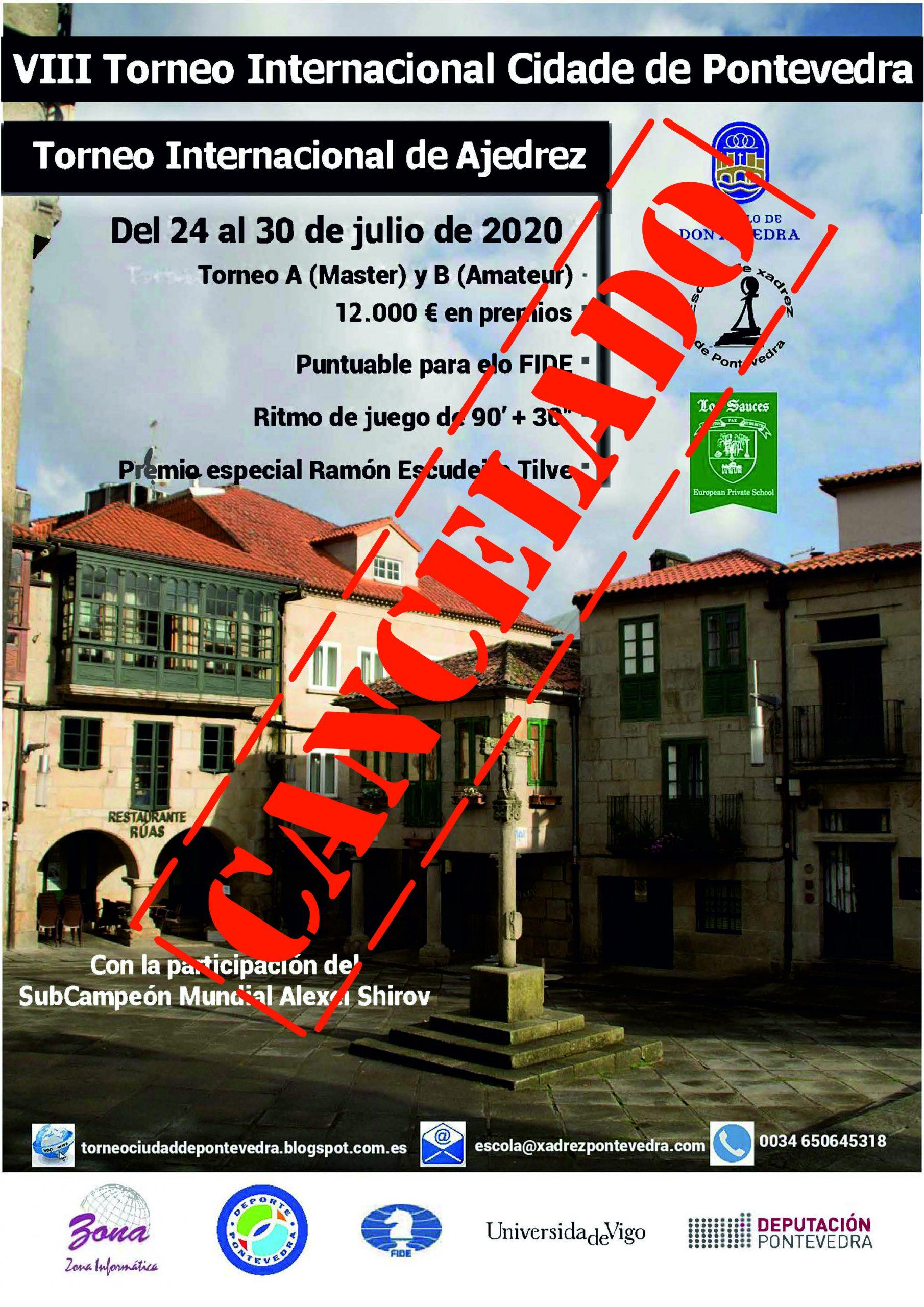 Cancelación del VIII Torneo Internacional de Ajedrez Ciudad de Pontevedra